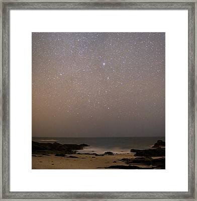 Sirius In Canis Major Over A Beach Framed Print by Laurent Laveder