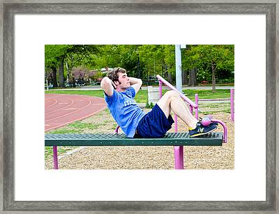 Sit-ups Framed Print by Photo Researchers