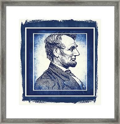 Sixteenth President Blue Framed Print by Angelina Vick