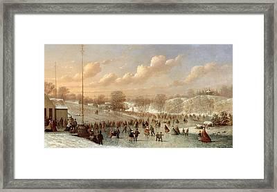 Skating Scene Framed Print by Johann Mongels Culverhouse