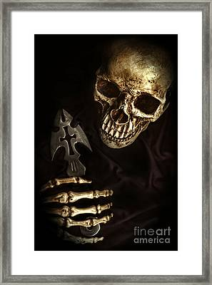 Skeleton Holding Knife Framed Print by HD Connelly