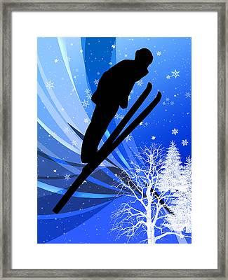 Ski Jumping In The Snow Framed Print by Elaine Plesser