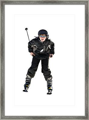 Skier Flying Framed Print by Susan Leggett
