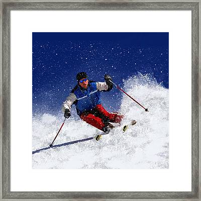 Skiing Down The Mountain Framed Print by Elaine Plesser