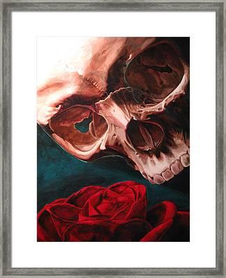 Skull And Rose  Framed Print by Melissa  Johnson