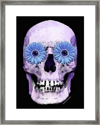 Skull Art - Day Of The Dead 3 Framed Print by Sharon Cummings