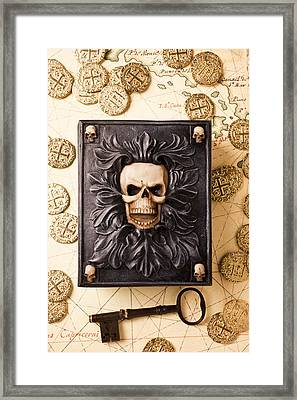 Skull Box With Skeleton Key Framed Print by Garry Gay