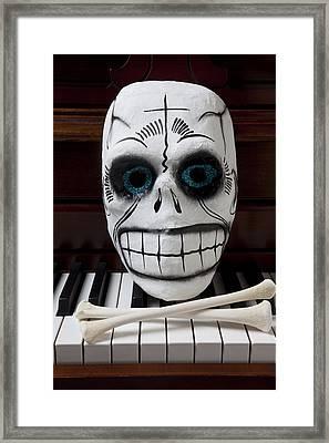 Skull Mask With Bones Framed Print by Garry Gay