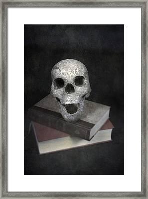 Skull On Books Framed Print by Joana Kruse