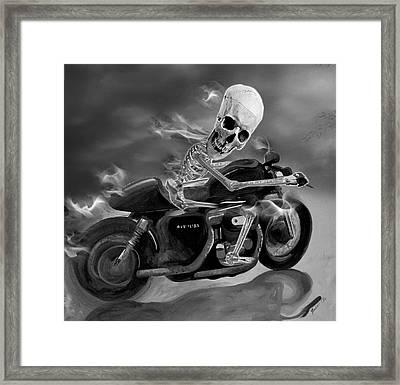 Skull Rider On Cafe Sportster Framed Print by Janet Oh