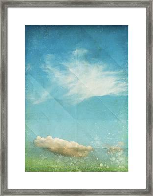 Sky And Cloud On Old Grunge Paper Framed Print by Setsiri Silapasuwanchai