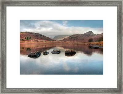 Sky And Mountain Reflection In Lake Framed Print by Terry Roberts Photography