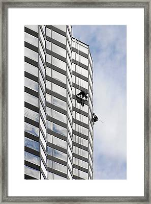Skyscraper Window-washers - Take A Walk In The Clouds Framed Print by Christine Till