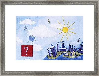 Skyscrapers In A City Town Framed Print by Sami Sarkis
