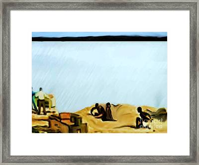 Slaves Waiting For Ship Framed Print by Belinda Threeths