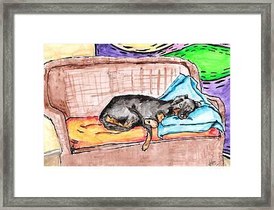 Sleeping Rottweiler Dog Framed Print by Jera Sky