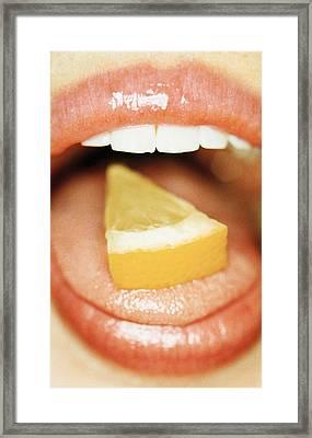 Slice Of Lemon On Tongue Framed Print by Cristina Pedrazzini