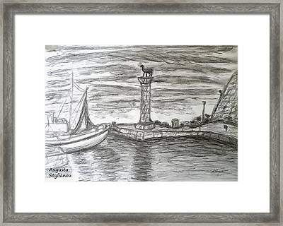 Small Boats At Rhodes Port Framed Print by Augusta Stylianou