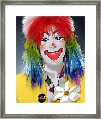 Smiling Clown Framed Print by Methune Hively