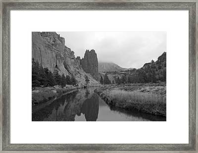 Smith Rock State Park In Black And White Framed Print by Twenty Two North Photography