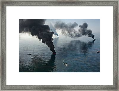 Smoke Rises From Surface Oil Framed Print by Joel Sartore