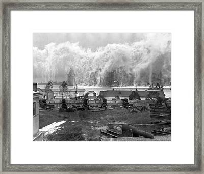Smoke Screen Around Manhattan Framed Print by Underwood Archives