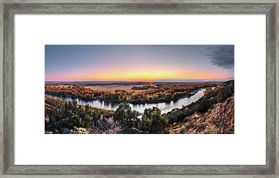 Snake River Panoramic Sunset Framed Print by Leland D Howard