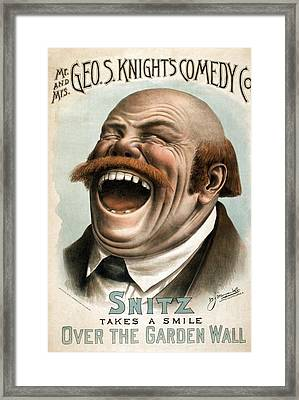 Snitz Takes A Smile Over The Garden Framed Print by Everett