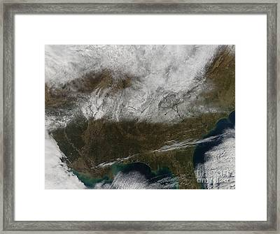 Snow Cover Stretching From Northeastern Framed Print by Stocktrek Images