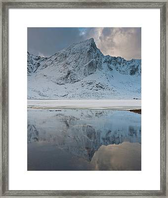 Snow Covered Mountain Reflected In Lake Framed Print by © Peter Boehi