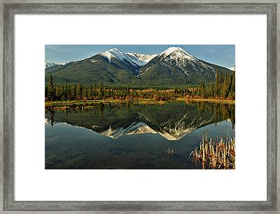 Snow Covered Peaks Of Canadian Rockies Framed Print by Jeff R Clow