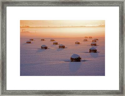 Snow-covered Rice Fields Framed Print by The landscape of regional cities in Japan.