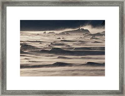 Snow Drift Over Winter Sea Ice Framed Print by Antarctica