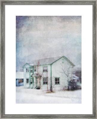 Snow Flurry 'round My Neighbor's House Framed Print by Priska Wettstein