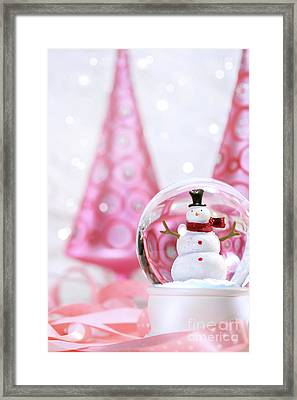 Snow Globe With Pink  Trees Framed Print by Sandra Cunningham