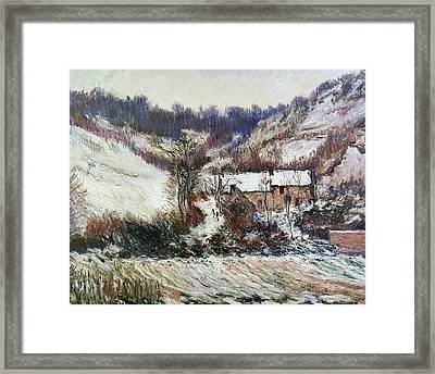 Snow Near Falaise Framed Print by Claude Monet