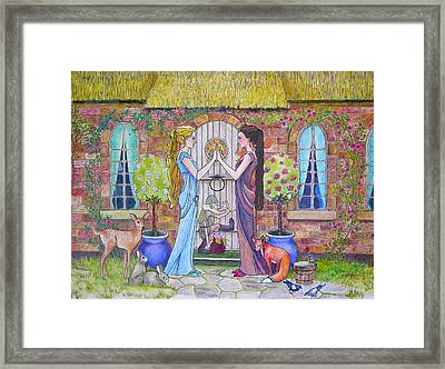Snow White And Rose Red Framed Print by Robin Birrell
