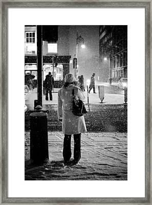 Snowing Night Framed Print by Marcio Faustino