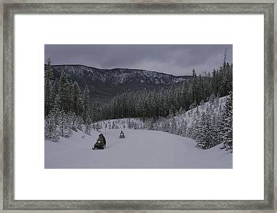 Snowmobilers In Yellowstone National Framed Print by Raymond Gehman