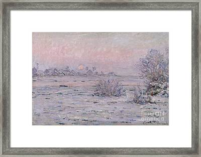 Snowy Landscape At Twilight Framed Print by Claude Monet