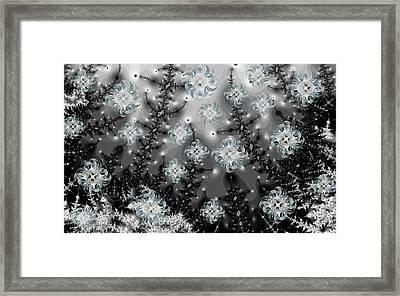Snowy Night I Fractal Framed Print by Betsy Knapp