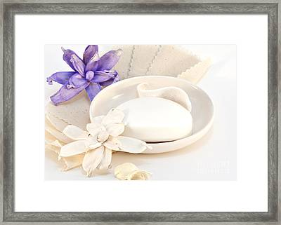 Soap With Flowers Framed Print by Blink Images