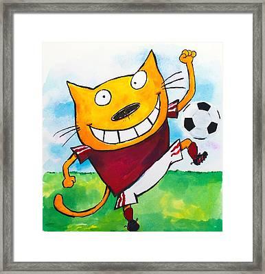 Soccer Cat 2 Framed Print by Scott Nelson
