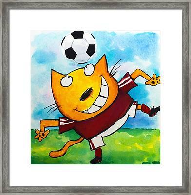 Soccer Cat 4 Framed Print by Scott Nelson