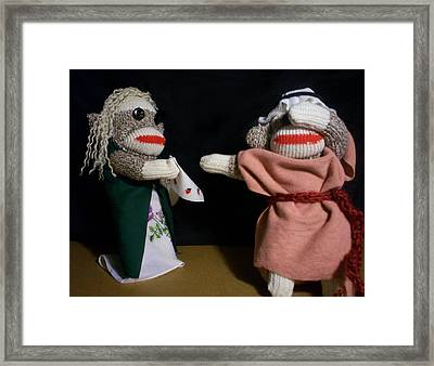 Sock Monkey Othello Framed Print by David Jones