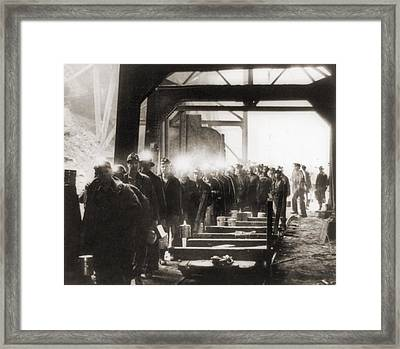 Soft Coal Miners, Their Lamps Glowing Framed Print by Everett