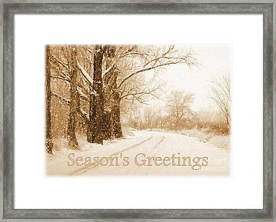 Soft Sepia Season's Greetings Card Framed Print by Carol Groenen