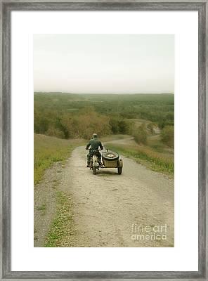 Soldier On Military Ww2 Motorcycle Framed Print by Jill Battaglia
