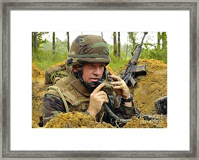 Soldier Using A Ta-1 Sound Powered Framed Print by Stocktrek Images
