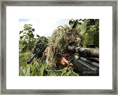 Soldiers Dressed In Ghillie Suits Framed Print by Stocktrek Images